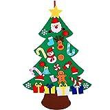 XONOR Juego de árbol de Navidad de Fieltro DIY con Adornos para niños, decoración de Colgar en la Puerta de año Nuevo