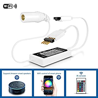Anten WiFi LED Controller DC5-12V Mini RGB Smart Working with Alexa Android / iOS Mobile Phone App 16 Million Colors 20 Dynamic Modes Sound Activated Static Color Changing for LED Strip Light