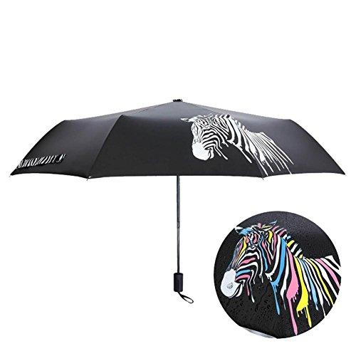 JAYLONG Paraguas de viaje 8 costillas cambian de color en el agua Construcción robusta en acero inoxidable portátil Paraguas plegable de secado rápido a prueba de agua para mujeres, hombres, niños y niños