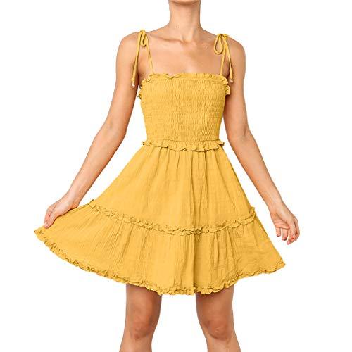 CUTUDE Damen Kleider Röcke Kurzarm Sommerkleider Ärmellos Volltonfarbe Faltenrock Freizeit Lose Strandkleid (Gelb, ()