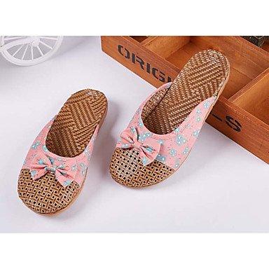 Pantofole Unisex & flip-flops Primavera / Estate / Autunno scarpe & sacchi di corrispondenza casuale di bamb¨´ tacco piatto BowknotRe US6.5-7 / EU37 / UK4.5-5 / CN37