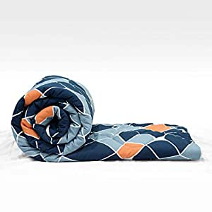 "Divine Casa 150 GSM Microfiber Recersible Geometric Single Comforter for Single Bed - (59""x90"") , Navy Blue and Orange"