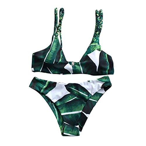 SMARTLADY Modelo Verde De La Pluma Traje De Baño Bikini (M, Verde)