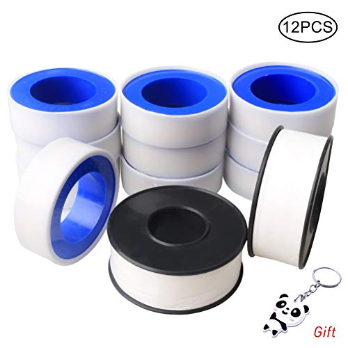 Pengxiaomei 12 Rolls Plumbers Thread Tape, 10 Rolls 1/2inch Plumbing Tape 2  Rolls 3/4inch Teflon Tape White PTFE Pipe Sealant Tape Thread Seal Tapes