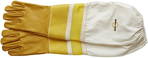 Natural Apiary® BEEKEEPING GLOVES - COWHIDE - VENTED SLEEVES & STING PROOF CUFFS - SMALL - Durable Leather - Extra Long Thick Sleeves 4