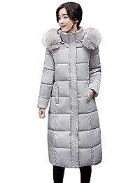 Logobeing Chaquetas Mujer Invierno Cálido Abrigos con Capucha de Piel Abrigos Largos de Algodón Acolchado Abrigos de Bolsillo Chaquetas de Pluma