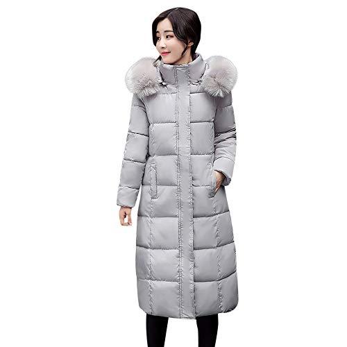 Zolimx Damen Wintermantel Frauen-Einfarbig Knopf-Mantel-Lange Baumwolle-Gepolsterte Jacken-Taschen-Pelz-mit Kapuze Mäntel Feste Pullover Oberbekleidung (Pelz Mit Kapuze Mantel)