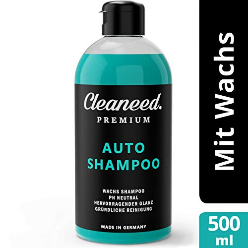 Cleaneed Premium Autoshampoo mit Wachs - Made IN Germany - pH-Neutral, Rückstandsfrei, Schonende Reinigung, Starke Schaumbildung