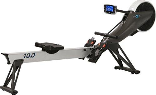 MAXXUS Studio-Ruderergometer 10.0 / mit dualem Bremssystem. Luft- und Magent-Antrieb. Trainingsprogramme, HRC-Receiver, klappbares Design, steht geklappt auf Rollen, kugelgelagerter, ergonomischer Sitz, in der Höhe und Neigung verstellbares Cockpit