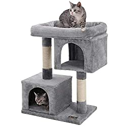 FEANDREA Cat Tree with Sisal-Covered Scratching Posts and 2 Plush Condos, Cat Furniture for Kittens - Light Grey PCT61W