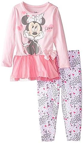 Disney Little Girls' Toddler Minnie Legging Set with Tulle Peplum Top Love, Pink, 4T