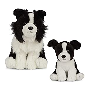 Living Nature Nature-AN494 Peluche para Perro y Cachorro, Color Blanco y Negro, Paquete (Keycraft AN494