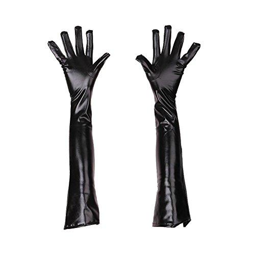 wlgreatsp Handschuhe Halloween-Kostüm-Zusatz lange Reenactment solide Elbow glatt Latex (Finger-kompression Handschuhe Volle)