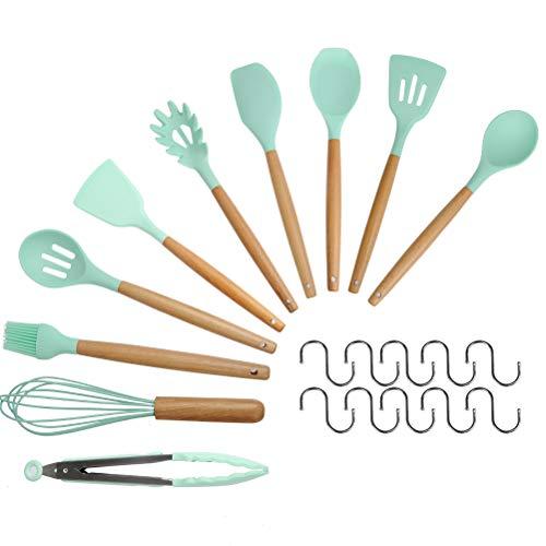ATPWONZ Küchenhelfer Set 11 Stück Küchengerät Silikon Küchenhelfer Set mit Holzgriffen Spachtel Utensil Set,Enthält 10 TLG S-Form Haken - Silikon-spachtel Holzgriff