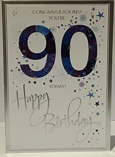 Tarjeta felicitación 90 cumpleaños texto inglés