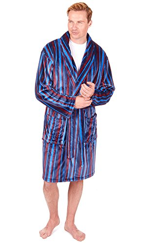 Herren Superweich Hausmantel Fleece Bad Robe Bademantel Herren Warm Winter Style Navy Multi Flannel Fleece