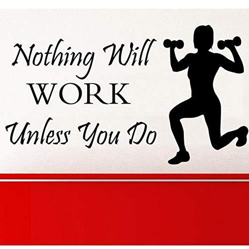 tes Nichts wird funktionieren, es sei denn, Sie tun Schriftzug Gesundheit Sport Fitness Viny73 * 42cml Sti ()