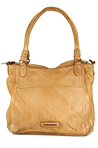 FREDSBRUDER Damen Ledertasche ACROSS THE CENTURY Logo brown_caramel, braun