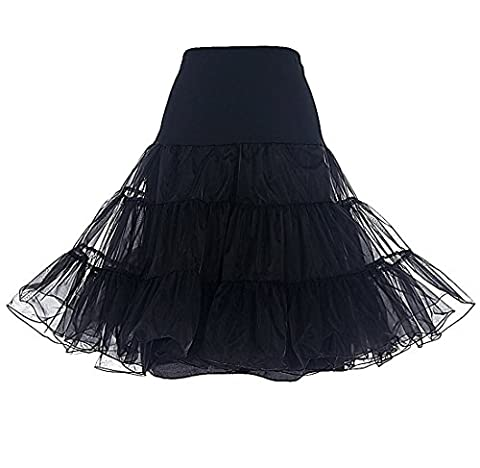 Kinikiss Womens 50s Vintage Wedding Dresses Ballet Dress Skirt Petticoat Knee-Length Crinoline Underskirt Slips-One Size (Black)