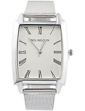 MJartoria Damen Armbanduhr Quarz Uhr Modeschmuck Milanaiseband Römische Ziffer Mode Design mit Strass Silber Farbe