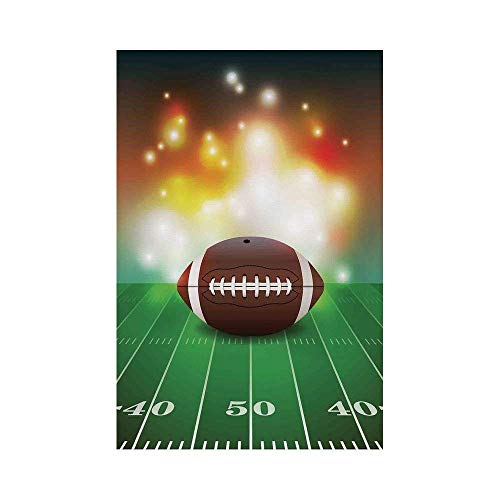 Liumiang Eco-Friendly Manual Custom Garden Flag Demonstration Flag Game Flag,Sports,American Football Ball with Golden Properties on Grass Turf Field Team Art Graphic,Brown Green décor (Rebel Flag Hoodie)