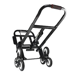 41UpKL%2BxS9L. SS300  - Aluminio de Carro Escaleras, Escalera portátil Carretilla de Mano Carro 330 libras/150kg, Neumático de Caucho Sólido Mochilas de la Carretilla, Adecuado para Conductores de Entrega Almacenes