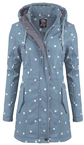 ODYSSEE Damen Softshell Mantel gepunktet Parka Jacke Kapuze Outdoor Übergang, Größe:M, Farbe:hellblau