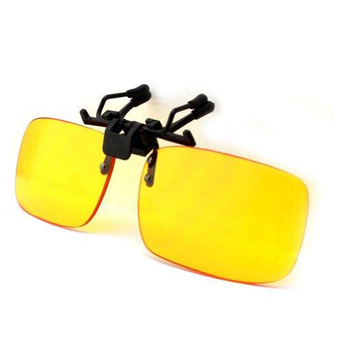 DUCO Gaming und Computerbrille Bildschirm Clip-On blaues Licht Schutzbrille gelbe Gläser Gamerbrille für Brillenträger 8010 (Tiefgelb)
