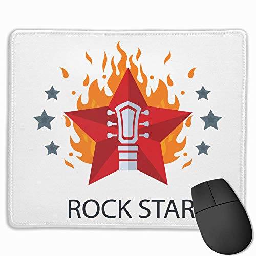e Pad Rectangle Rubber Mousepad Rock Star Fire Print Gaming Mouse Pad ()