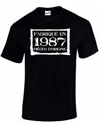 T-Shirt Anniversaire Homme 30 Ans Fabriqué En 1987 Pièces d'Origine
