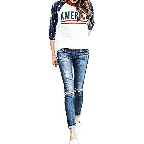 Vin beauty Frauen Damen Amerikanische Flagge US-Sterne-T-Stück T-Shirt Beiläufige lose Oberseite übergroße lange Hülsen-
