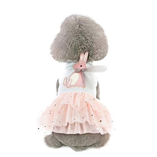 Hawkimin mops Bekleidung Hund Pet Bottoming Kaninchen Print Kleid Kleidung Katze Lace Breathable ()