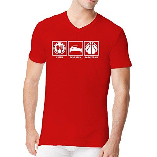 Sport Männer V-Neck Shirt - Essen - Schlafen - Basketball: Fun Shirt by Im-Shirt Rot