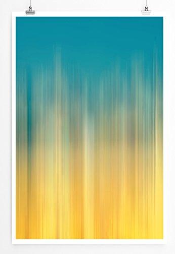 Eau Zone Home Bild - Abstraktes Bild - Blau Orange- Poster Fotodruck in höchster Qualität