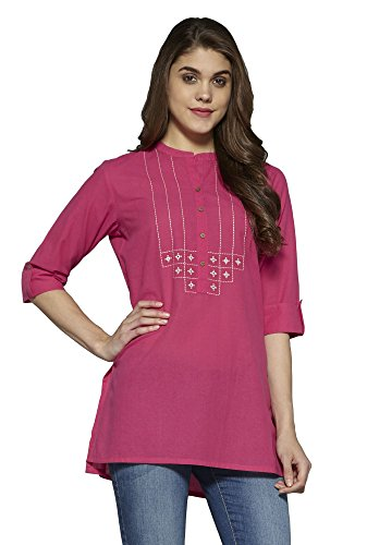 Aahwan Women's Pink Solid Cotton Short Straight Embroidered Kurti (AC-Star-Pink-XL)