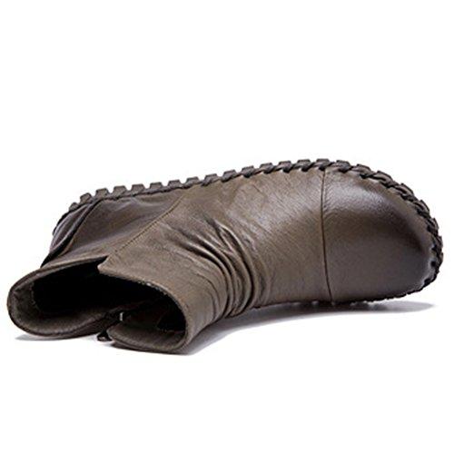 MatchLife Femme Vintage Laçage cuir Hiver Bottines Style1-Kaki