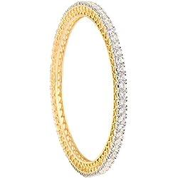 Ratnavali Jewels White American Diamond Gold Plated Cz Bangle Set For Women And Girls Rv785