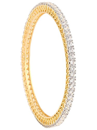 Ratnavali Jewels White American Diamond Gold Plated Cz Bangle Set For Women And Girls Rv785
