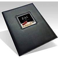 Menühalter für Restaurant, A4, hochwertig, Kunstleder, Schwarz