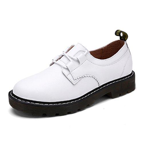Hwf Femmes Printemps Martin Chaussures British Style Femmes College Chaussures Casual En Cuir Femelle Single-plate Étudiant (couleur: Blanc, Taille: 40) Blanc