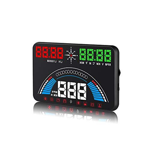 """HKANG® HUD Auto KFZ 5.8\"""" S7 Head Up Display Einfach Und Klar Tacho Geschwindigkeitsmesser KM/h Überdrehzahl Alarm Voltmeter Motorausfall Motordrehzahl Wassertemperaturmesser Pause Erinnerung"""