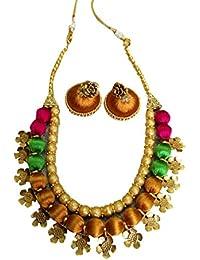Yaalz Gold Pink Parrot Green Silk Thread Necklace Set For Women