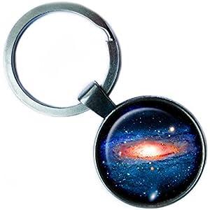 NASA Photograph Galaxy Galaxis Foto Silver Keychain Silber Schlüsselanhänger