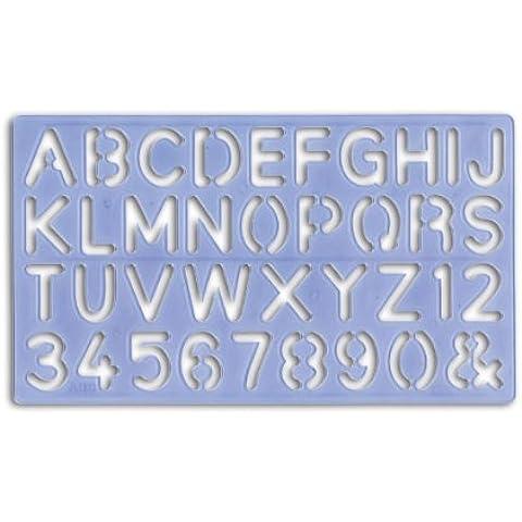 Major Brushes - Set di 4 normografi con alfabeto, 4 pezzi, 5, 10, 20 e 30 mm