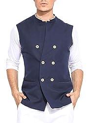 Mr Buttons Mens Slim Fit Nehru Jacket GODNHJ22-M_Blue_Medium
