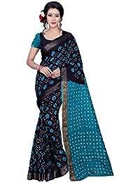 Star Saree Mall Georgette Saree (Half-Black-Blue_Black-Blue)