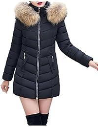 c0272f956ac96 Reaso Parka Elegant Doudoune Hiver Femme Manteau Capuche Mi-Longue Chaud  Blouson Jacket Grande Taille