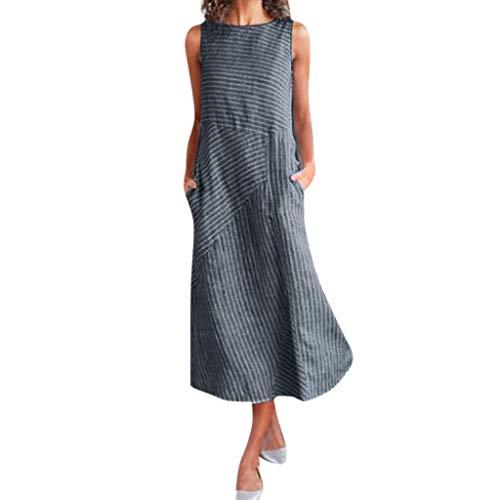 Obestseller Damen-Kleider Damen Sommer Schulterfrei Businesskleider für Damen Lässiges, ärmelloses Kleid aus Baumwolle und Leinen mit Rundhalsausschnitt für Damen (Marine, M) -