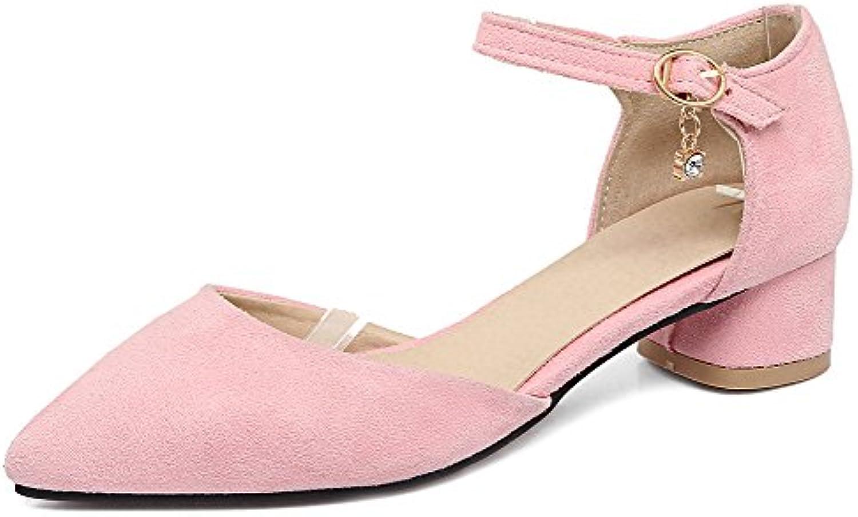 710f363d7b9 Aisun Women s Comfy Ankle Ankle Ankle Strap Faux Suede Low Chunky Heels  Pumps B07CBMR7DP Parent a6f07a