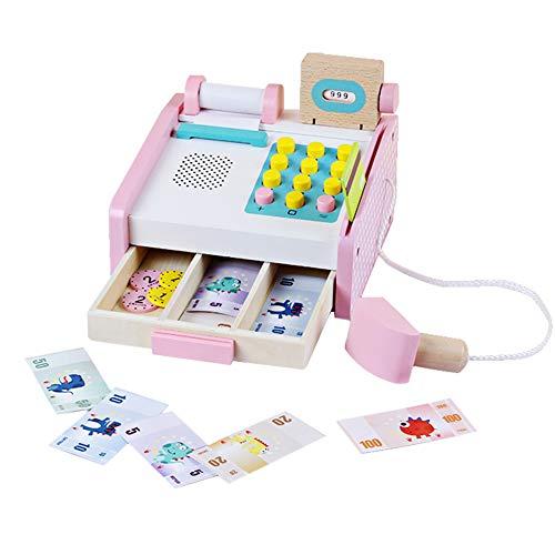 Kasse Kaufladen Zubehör Registrierkasse Kinder Spielkasse Holzspielzeug mit Kaufmannsladen Zubehör, Kartenlesegerät Scanner Spielgeld Rollenspiel Kinderspiel für 3 4 5 Jahre Mädchen Junge
